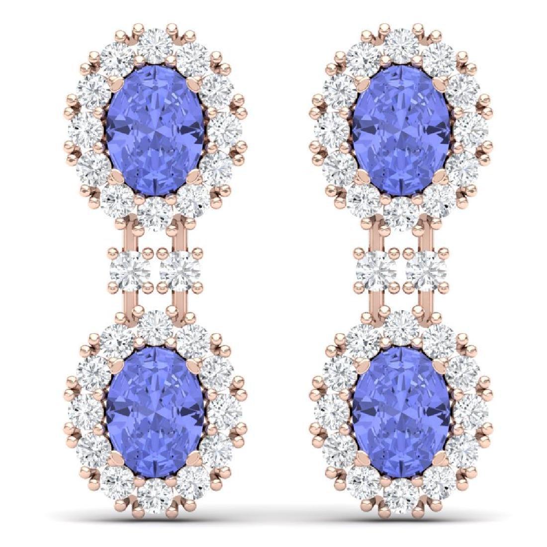 8.35 CTW Royalty Tanzanite & VS Diamond Earrings 18K