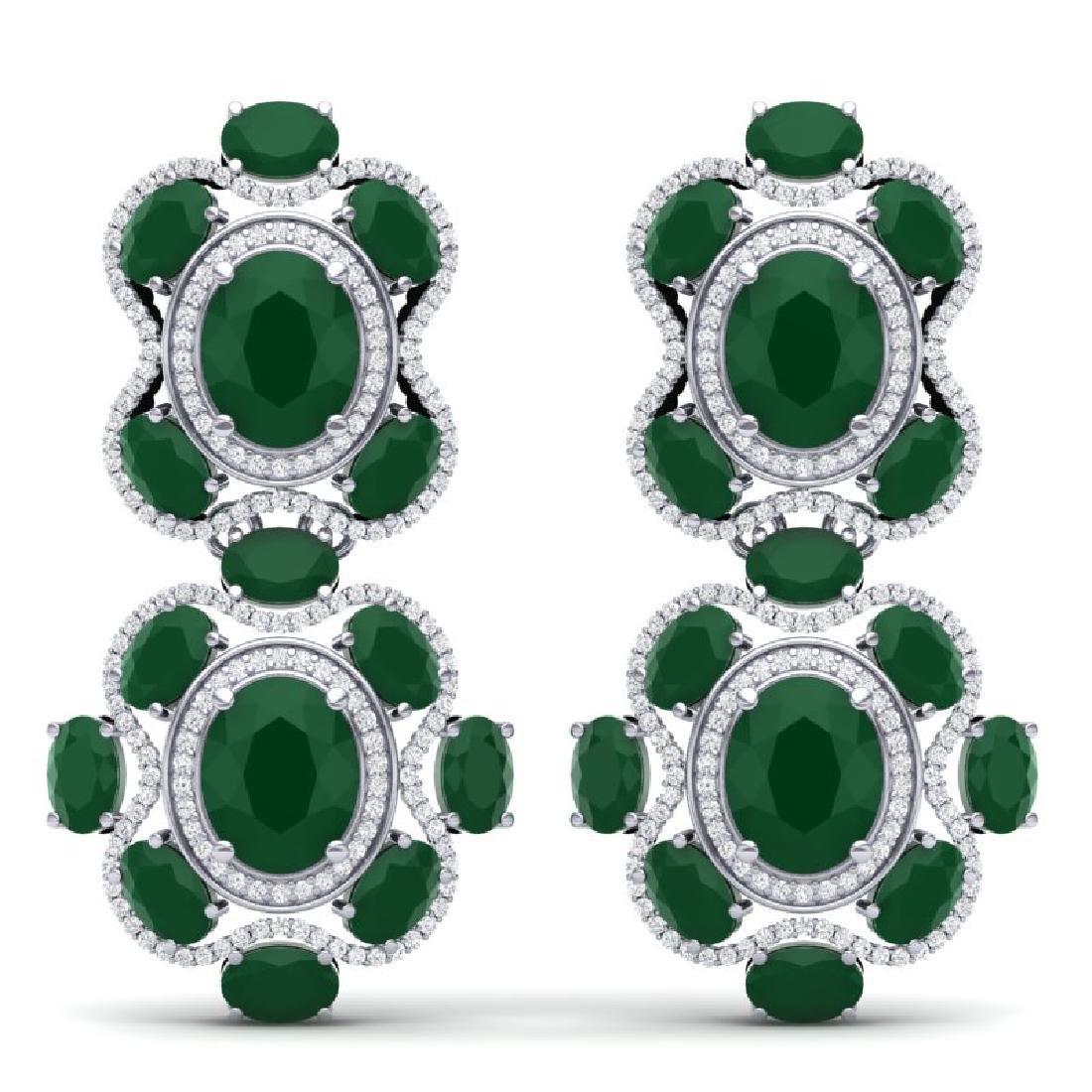 33.5 CTW Royalty Emerald & VS Diamond Earrings 18K