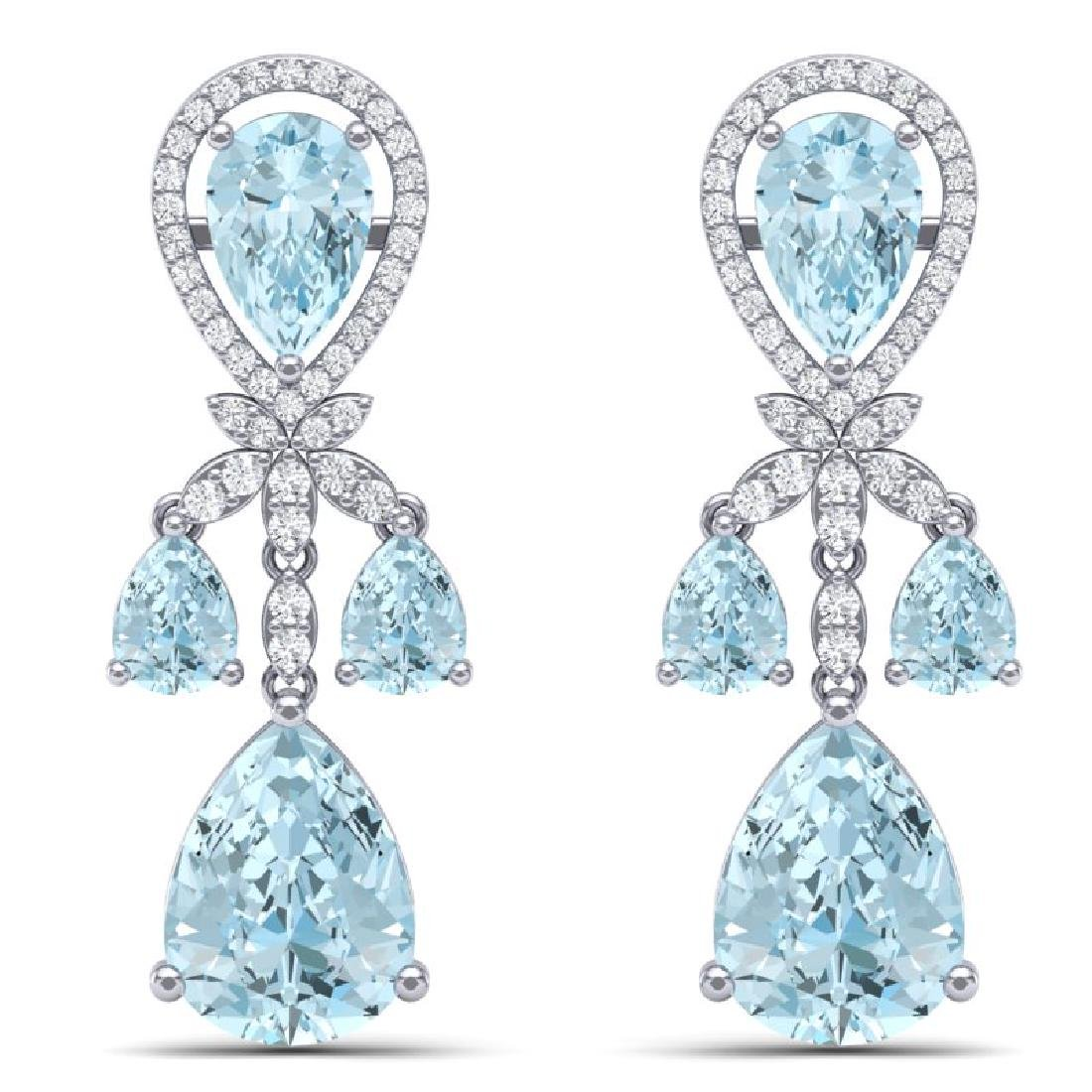 40.01 CTW Royalty Sky Topaz & VS Diamond Earrings 18K