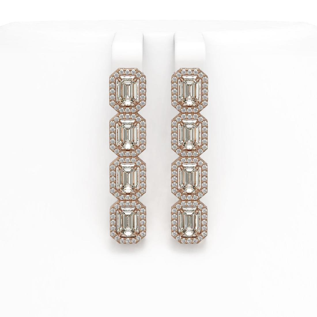 6.08 CTW Emerald Cut Diamond Designer Earrings 18K Rose