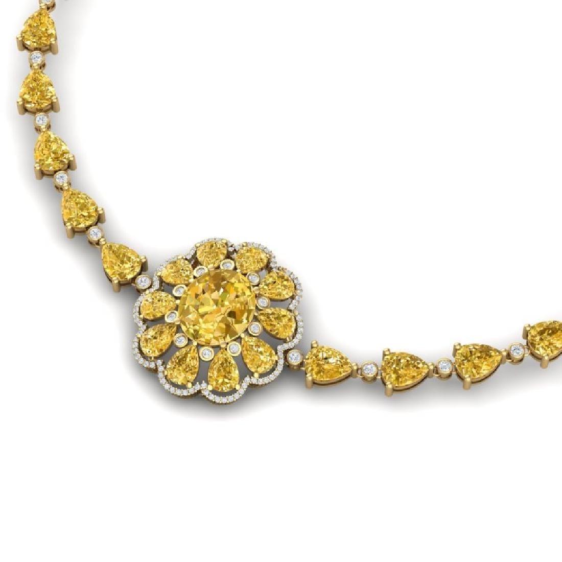 72.38 CTW Royalty Canary Citrine & VS Diamond Necklace