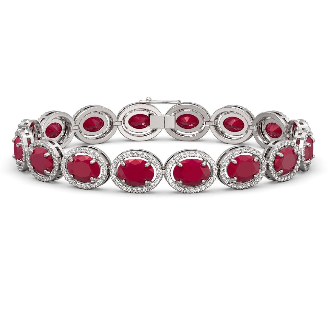 31.79 CTW Ruby & Diamond Halo Bracelet 10K White Gold