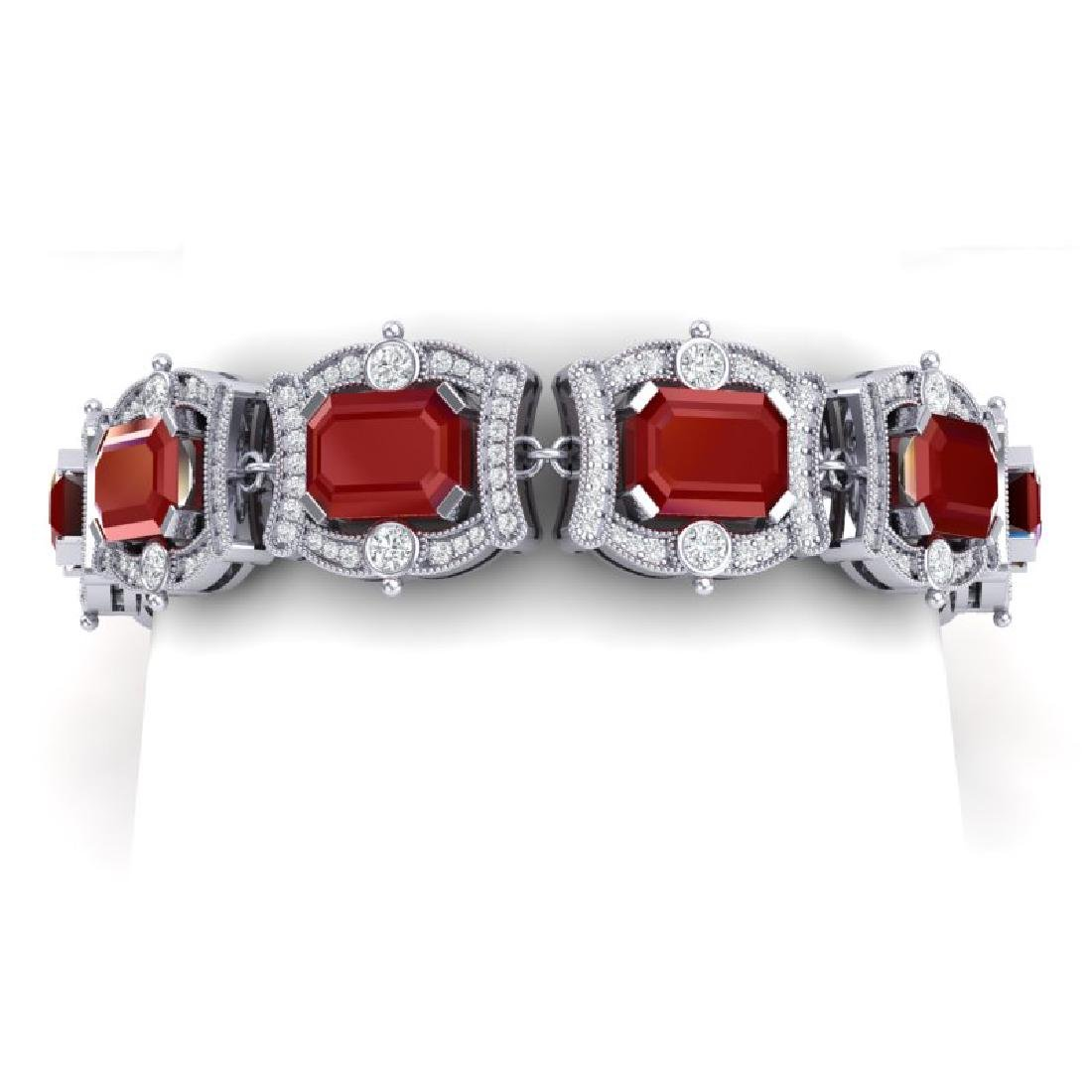 43.87 CTW Royalty Ruby & VS Diamond Bracelet 18K White