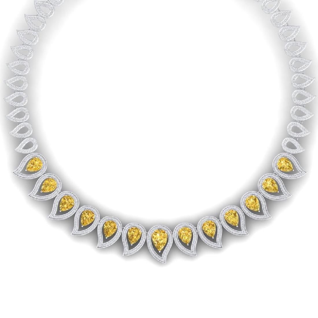 31.74 CTW Royalty Canary Citrine & VS Diamond Necklace
