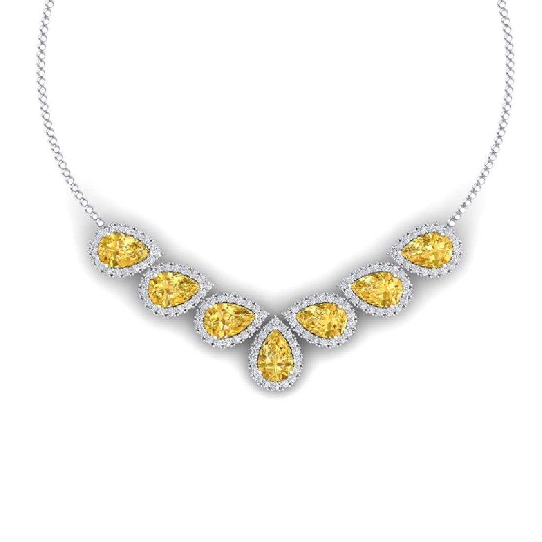 33.34 CTW Royalty Canary Citrine & VS Diamond Necklace