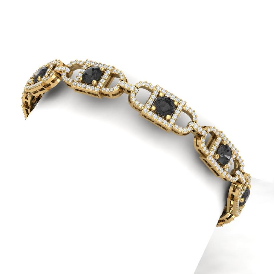 8 CTW Black And White Diamond Bracelet 18K Yellow Gold
