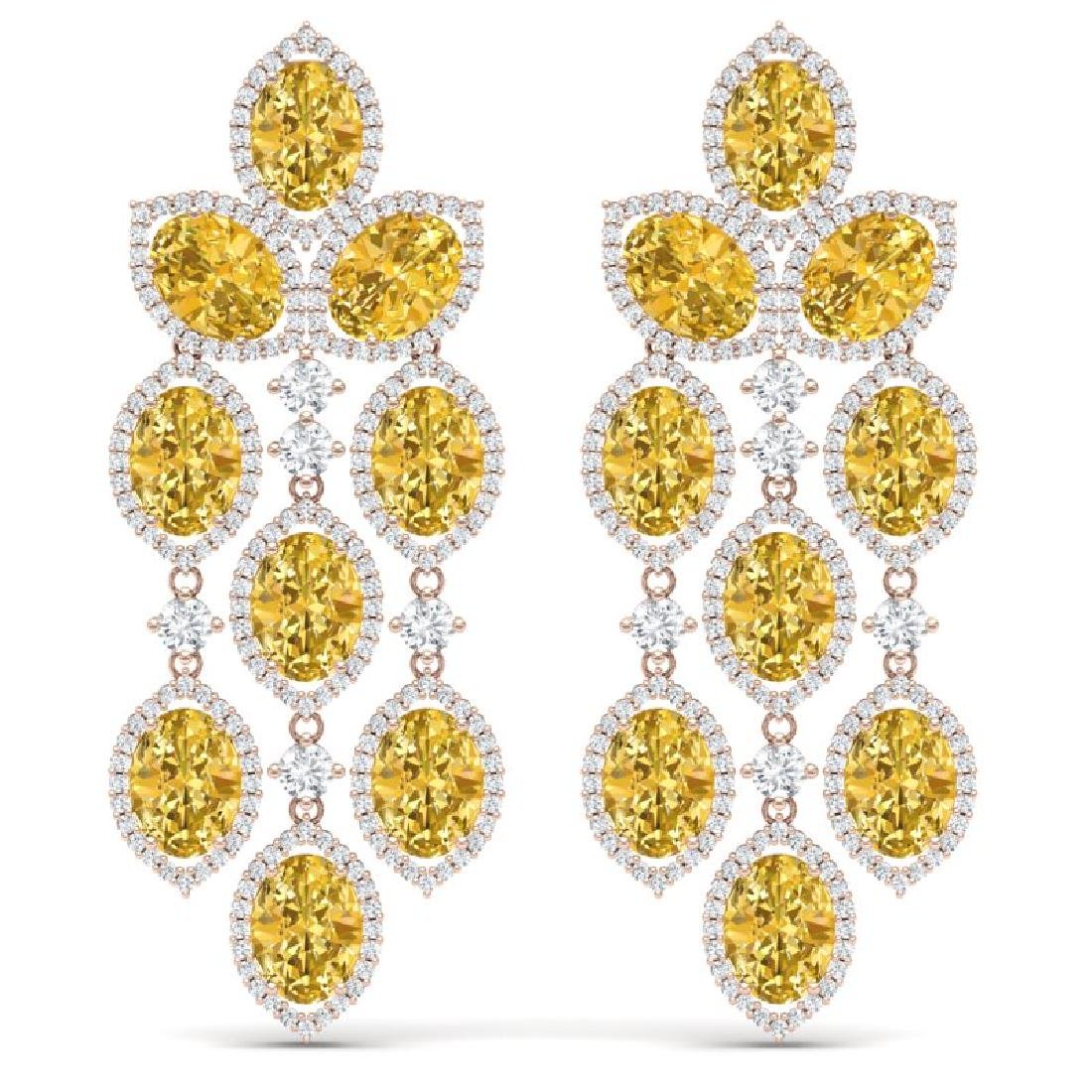 24.54 CTW Royalty Canary Citrine & VS Diamond Earrings