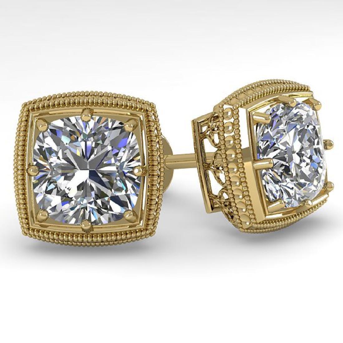 2 CTW VS/SI Cushion Cut Diamond Stud Earrings Deco 18K