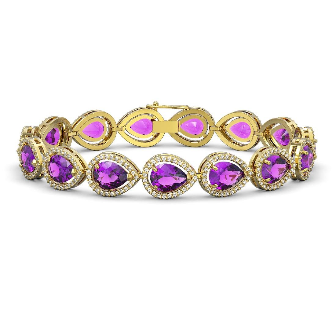 20.3 CTW Amethyst & Diamond Halo Bracelet 10K Yellow