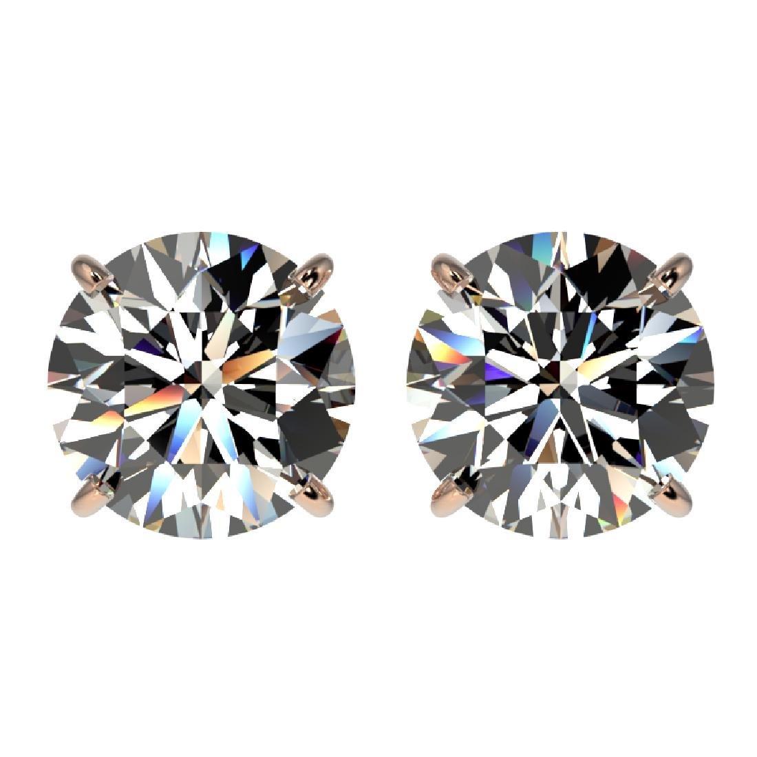 3.05 CTW Certified H-I Quality Diamond Stud Earrings