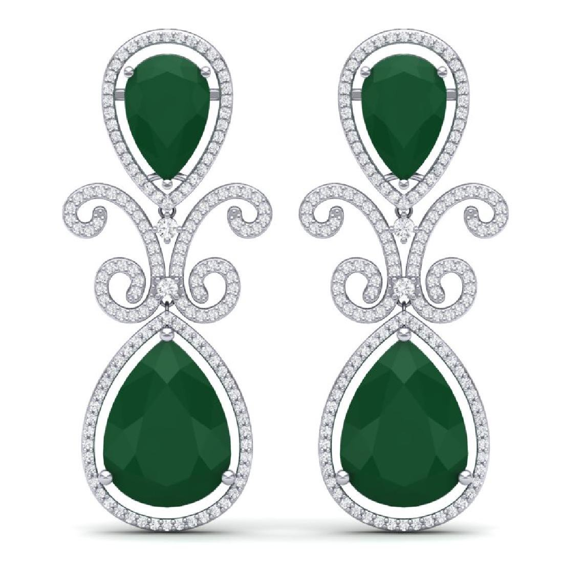 31.6 CTW Royalty Emerald & VS Diamond Earrings 18K