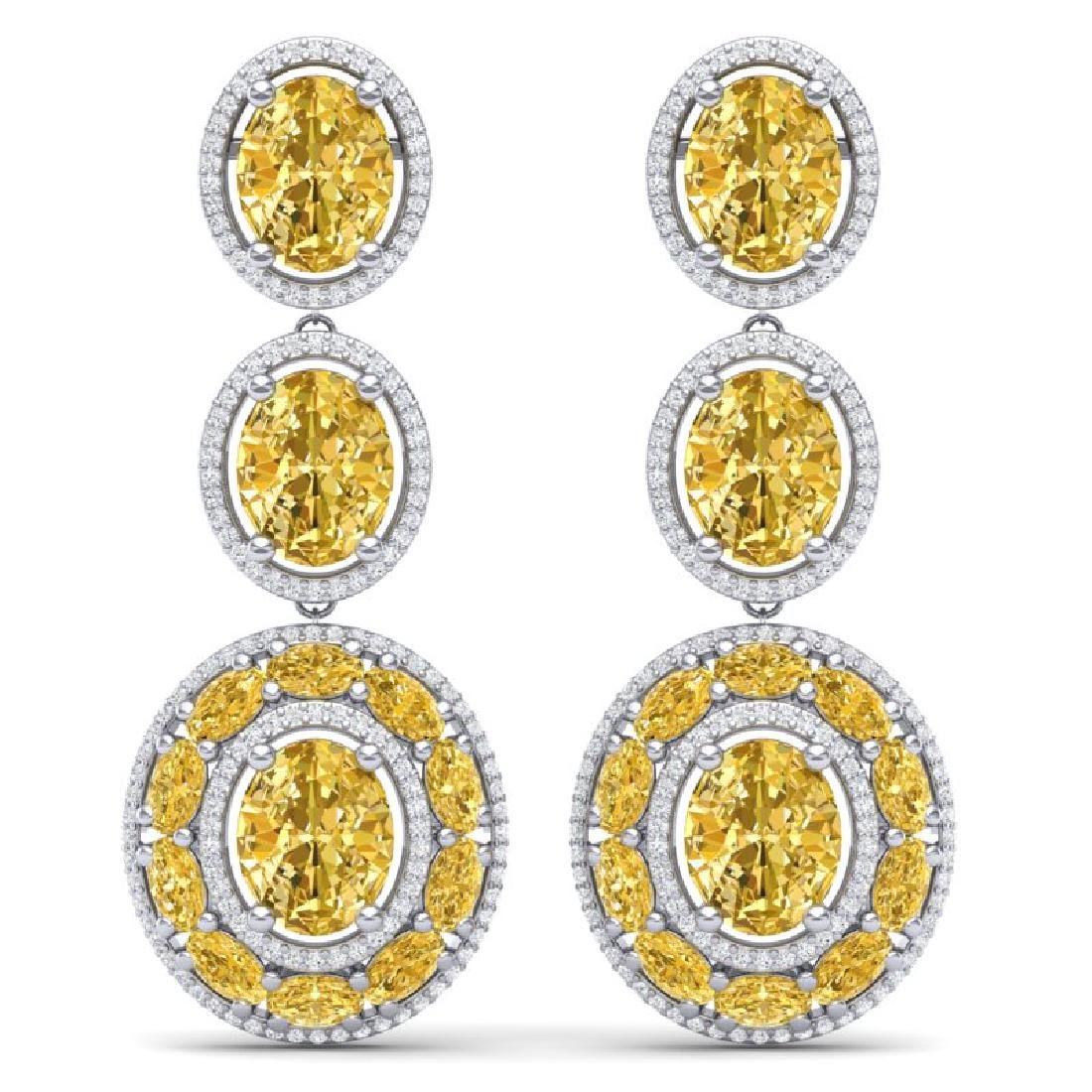 29.71 CTW Royalty Canary Citrine & VS Diamond Earrings