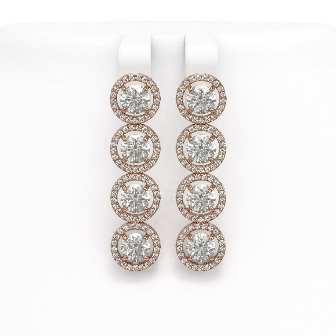 6.14 CTW Diamond Designer Earrings 18K Rose Gold