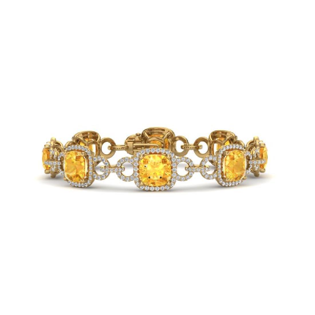 30 CTW Citrine & VS/SI Diamond Bracelet 14K Yellow Gold