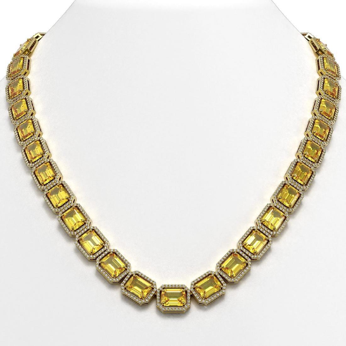 77.35 CTW Fancy Citrine & Diamond Halo Necklace 10K