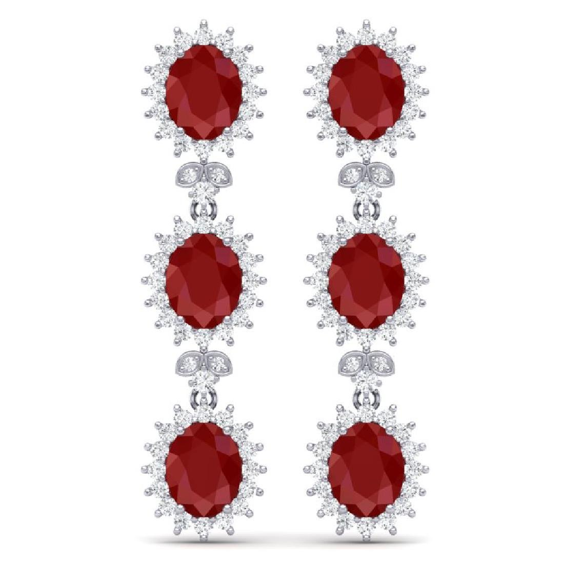 24.52 CTW Royalty Designer Ruby & VS Diamond Earrings