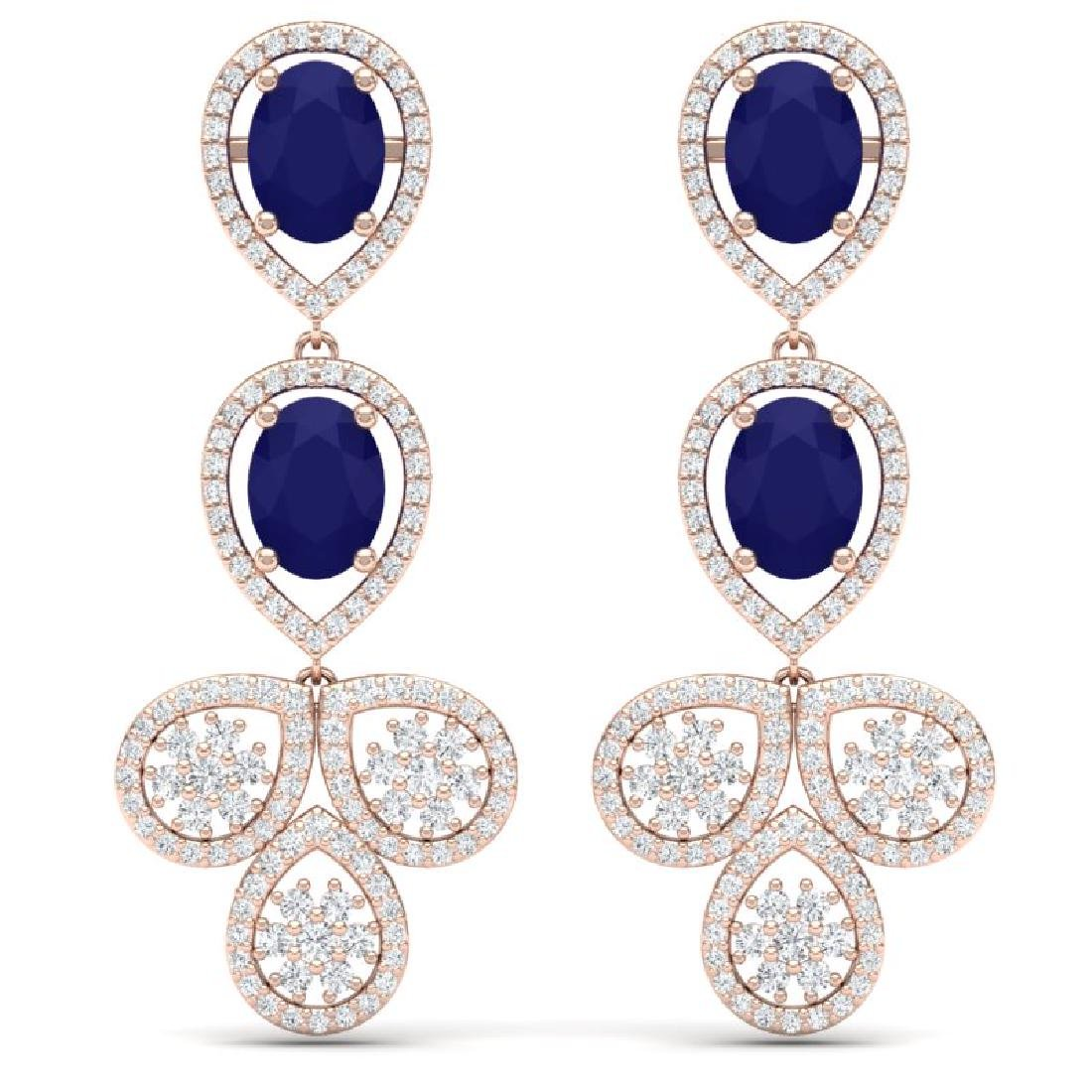 9.75 CTW Royalty Sapphire & VS Diamond Earrings 18K