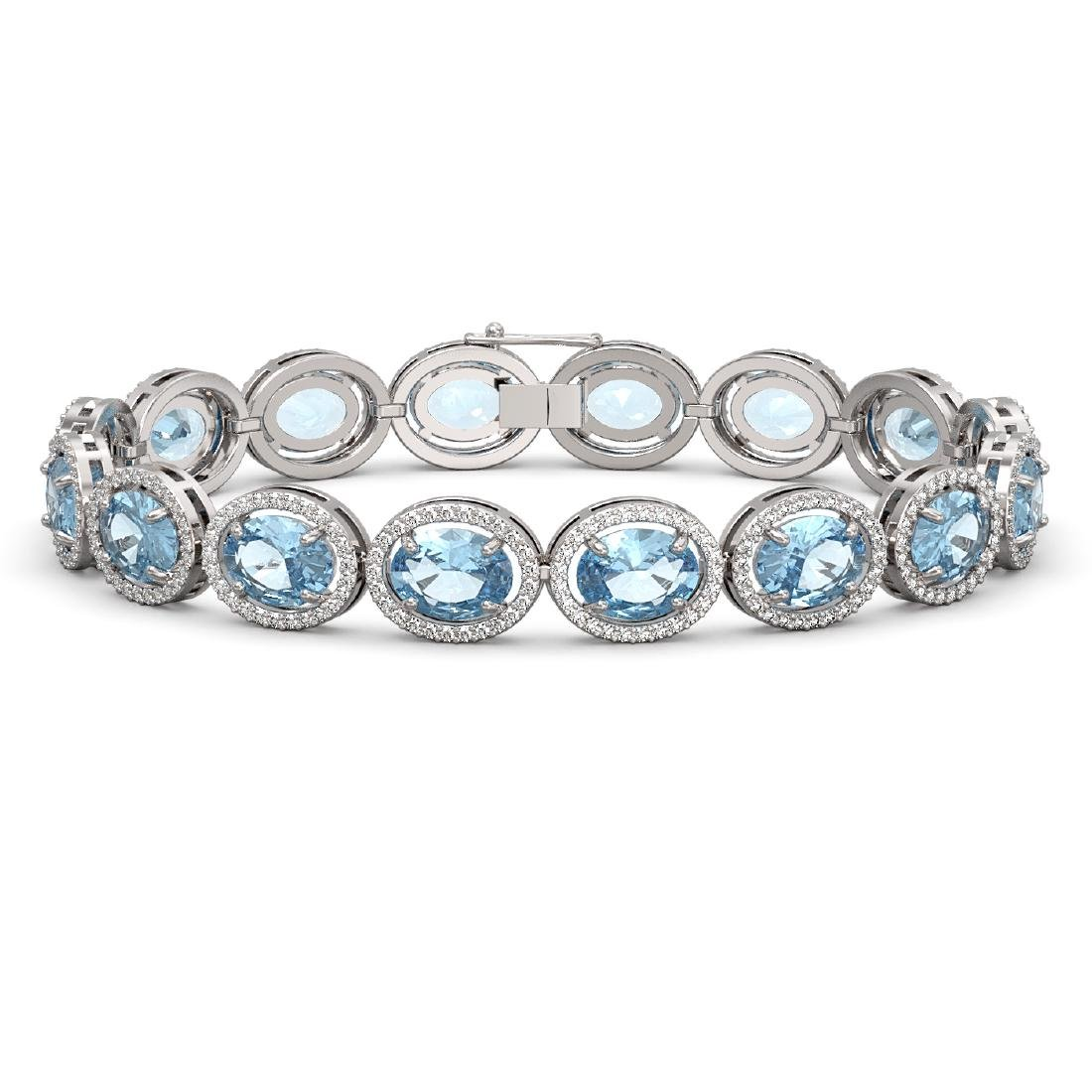 23.44 CTW Aquamarine & Diamond Halo Bracelet 10K White