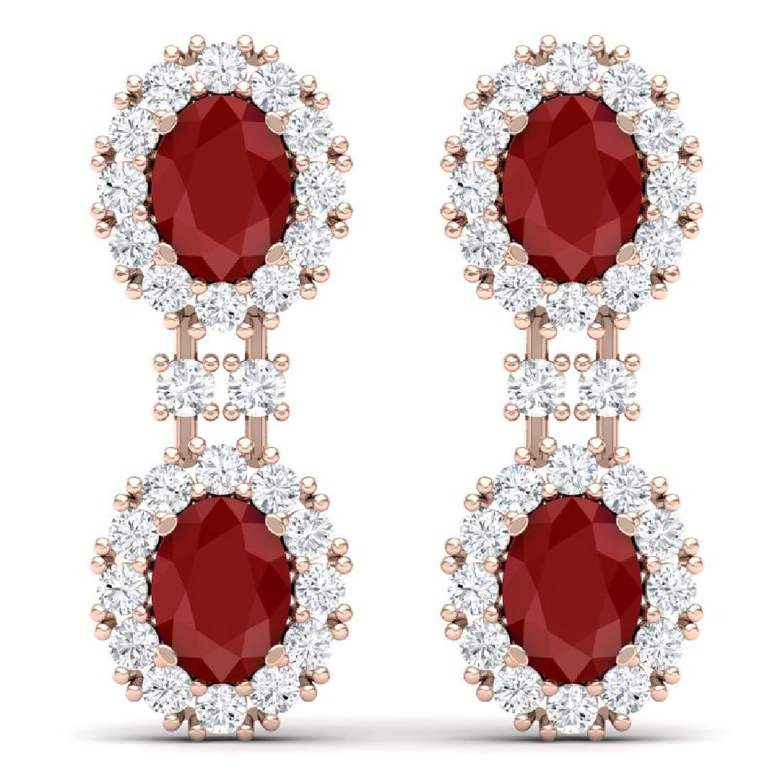 8.98 CTW Royalty Designer Ruby & VS Diamond Earrings