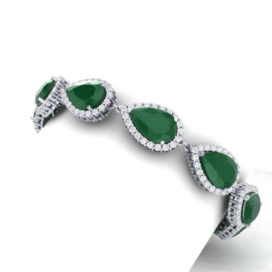 42 CTW Royalty Emerald & VS Diamond Bracelet 18K White - 2