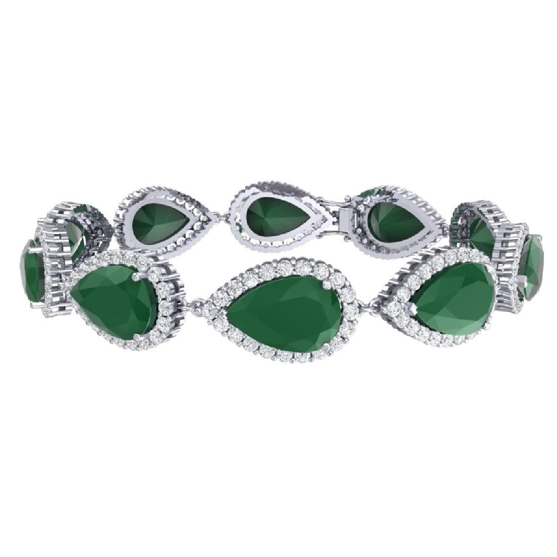 42 CTW Royalty Emerald & VS Diamond Bracelet 18K White - 3