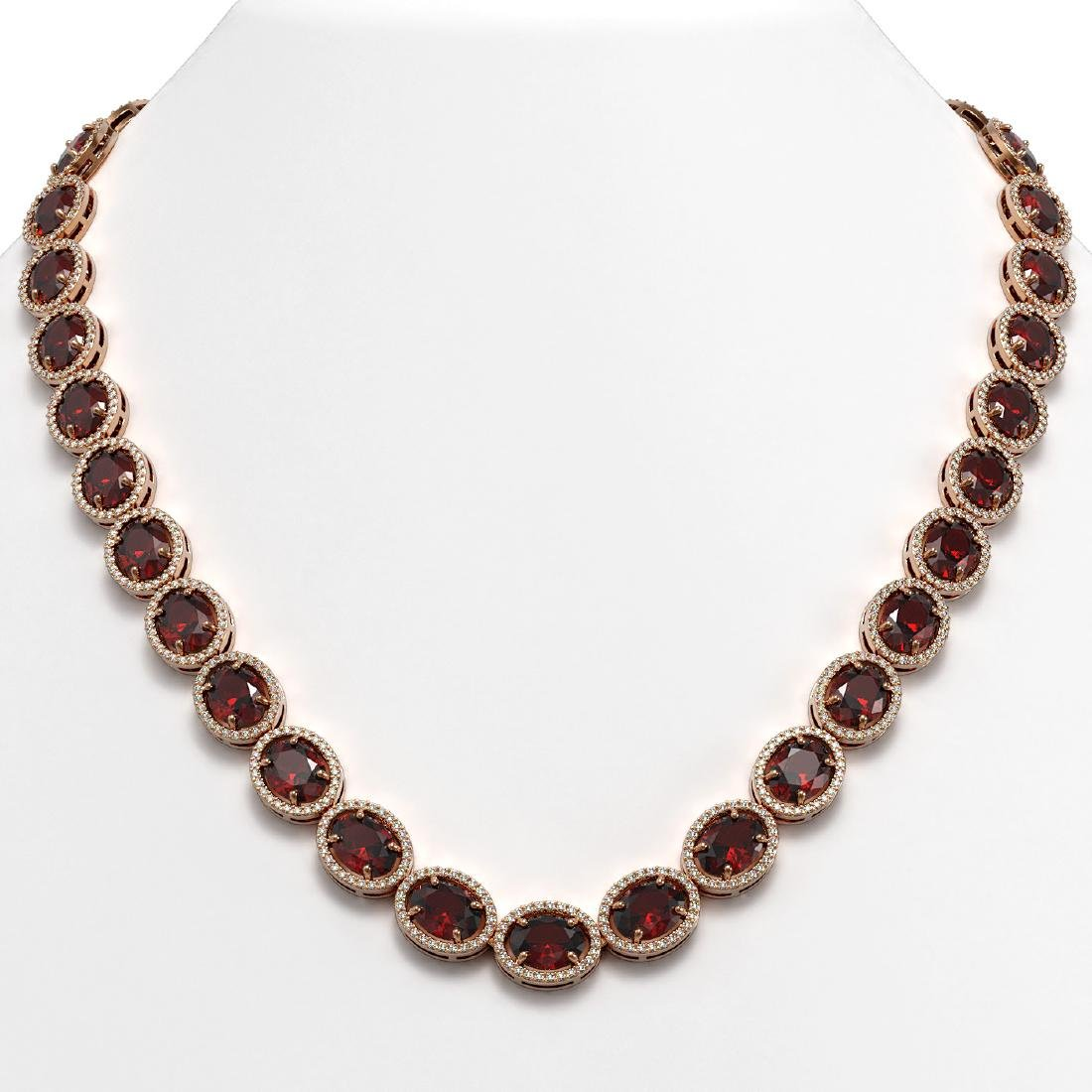 62.99 CTW Garnet & Diamond Halo Necklace 10K Rose Gold