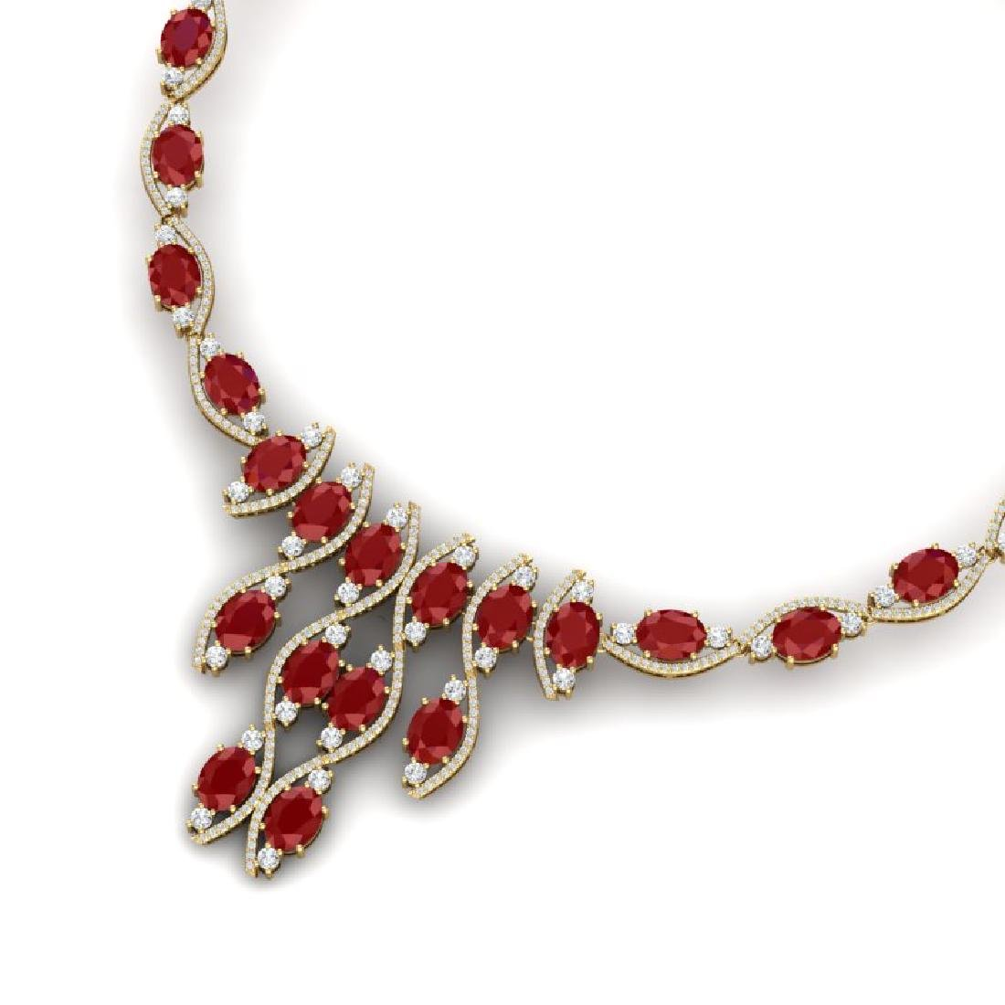 65.93 CTW Royalty Ruby & VS Diamond Necklace 18K Yellow