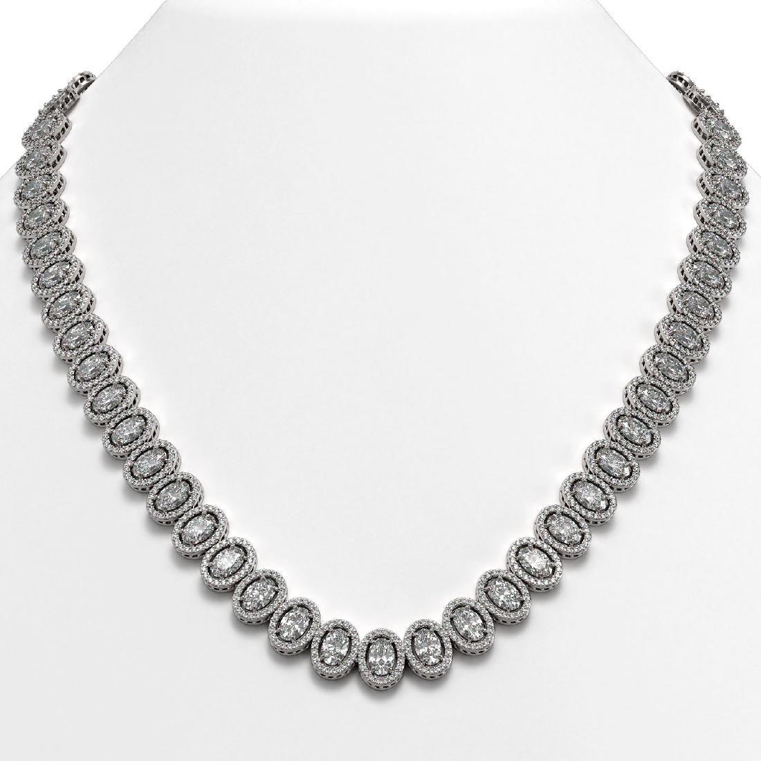 42.56 CTW Oval Diamond Designer Necklace 18K White Gold