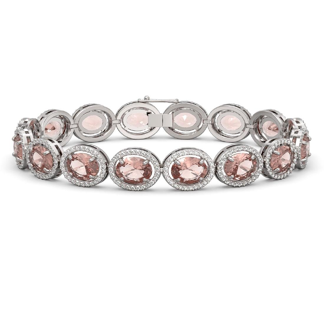 22.8 CTW Morganite & Diamond Halo Bracelet 10K White