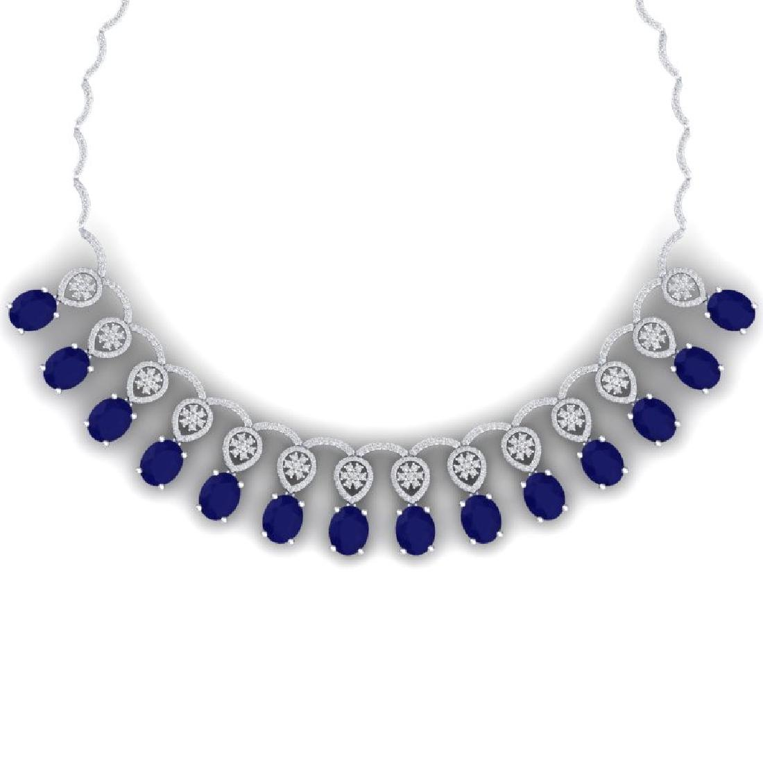 54.05 CTW Royalty Sapphire & VS Diamond Necklace 18K