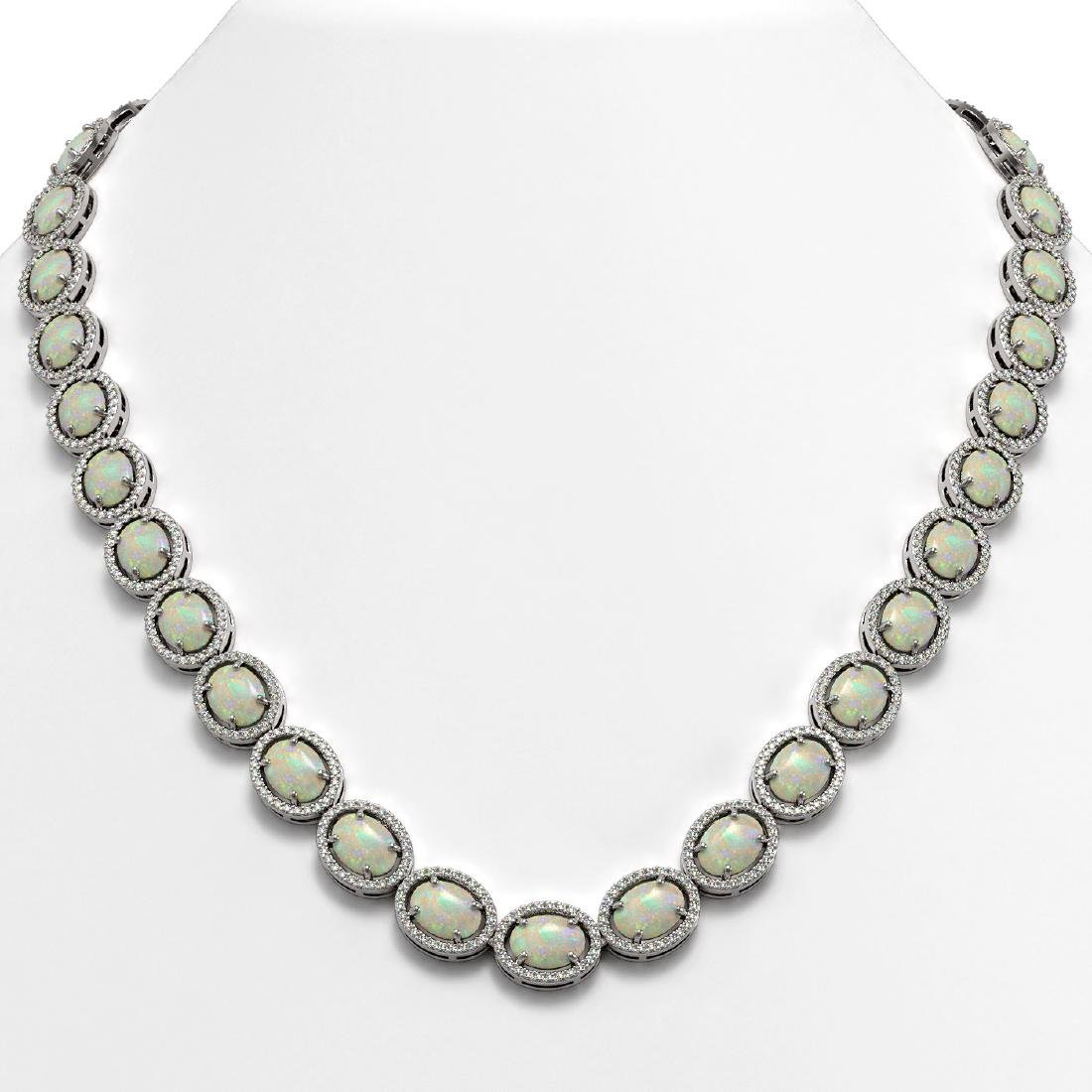 42.29 CTW Opal & Diamond Halo Necklace 10K White Gold