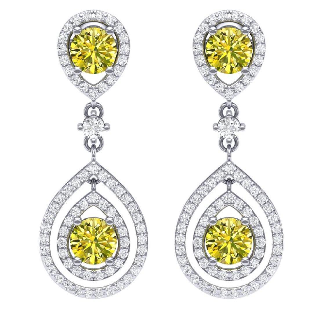 3.9 CTW Fancy Yellow SI Diamond Earrings 18K White Gold