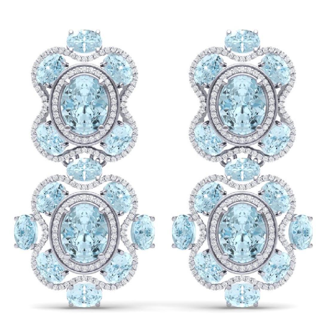 34.96 CTW Royalty Sky Topaz & VS Diamond Earrings 18K