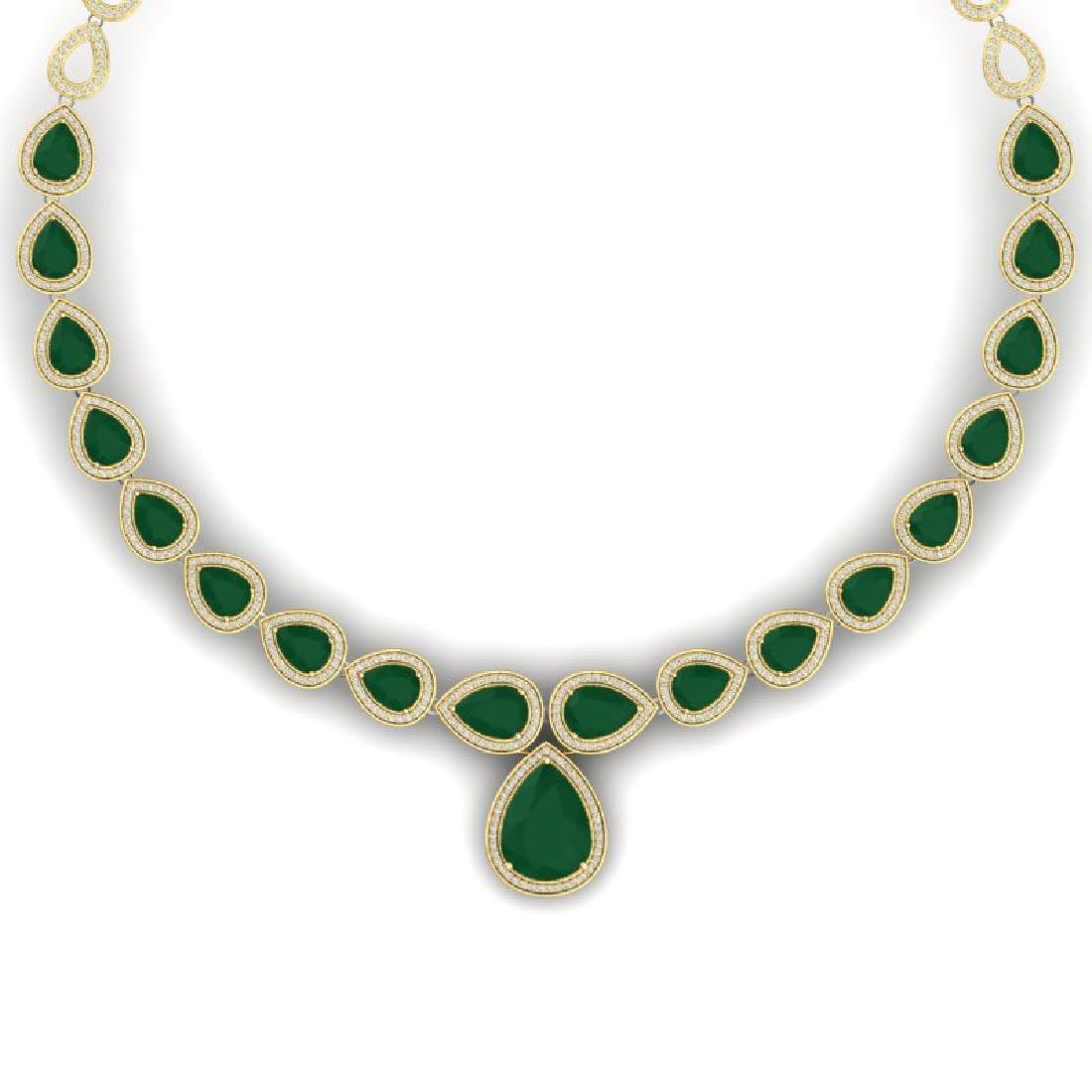 51.41 CTW Royalty Emerald & VS Diamond Necklace 18K