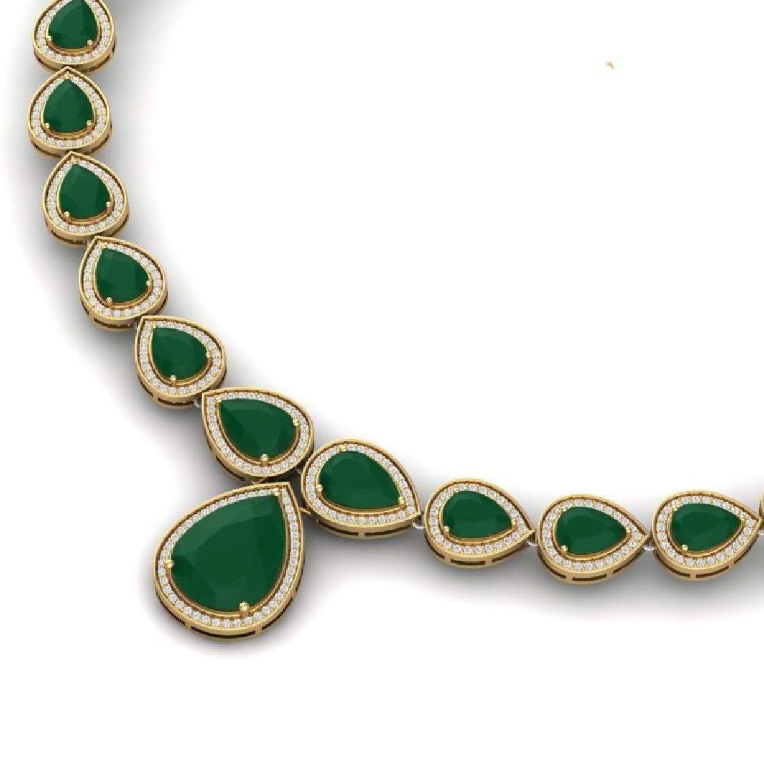 51.41 CTW Royalty Emerald & VS Diamond Necklace 18K - 2