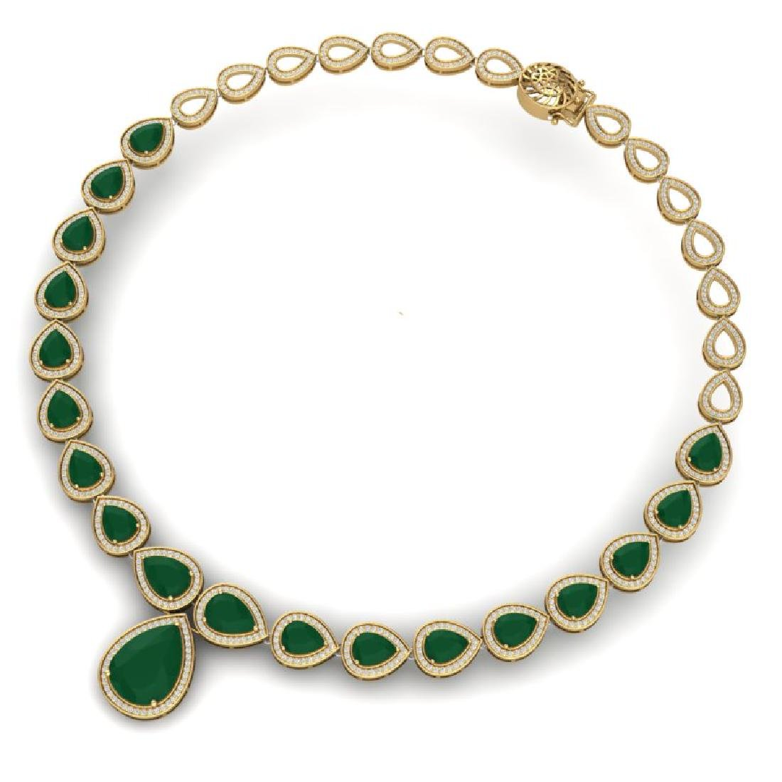 51.41 CTW Royalty Emerald & VS Diamond Necklace 18K - 3