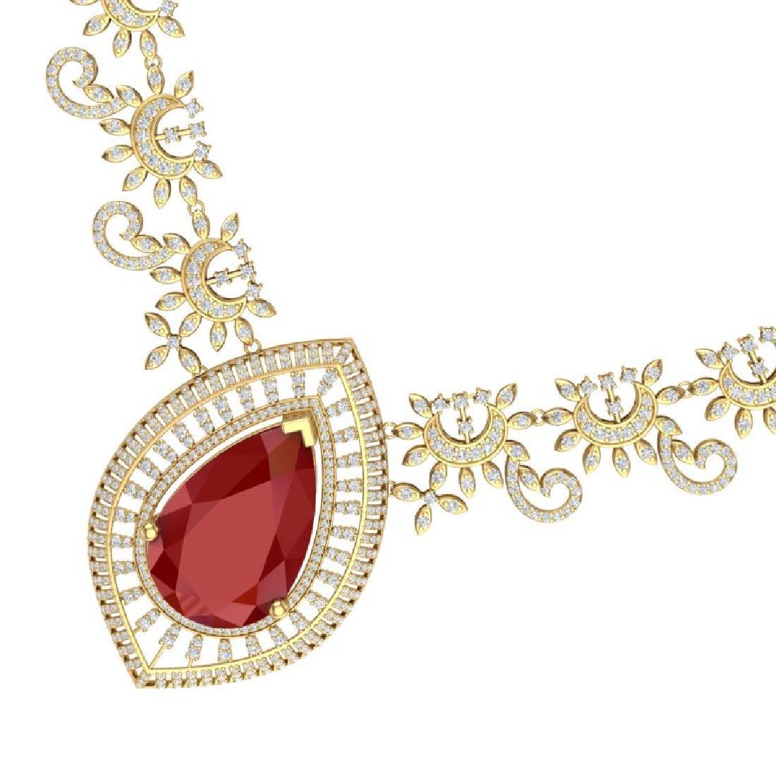 65.75 CTW Royalty Ruby & VS Diamond Necklace 18K Yellow