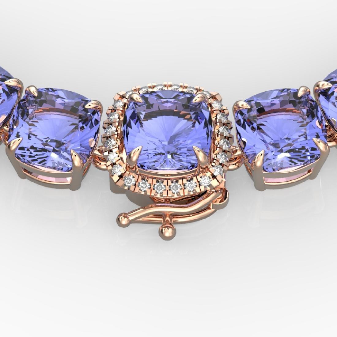 100 CTW Tanzanite & VS/SI Diamond Solitaire Necklace