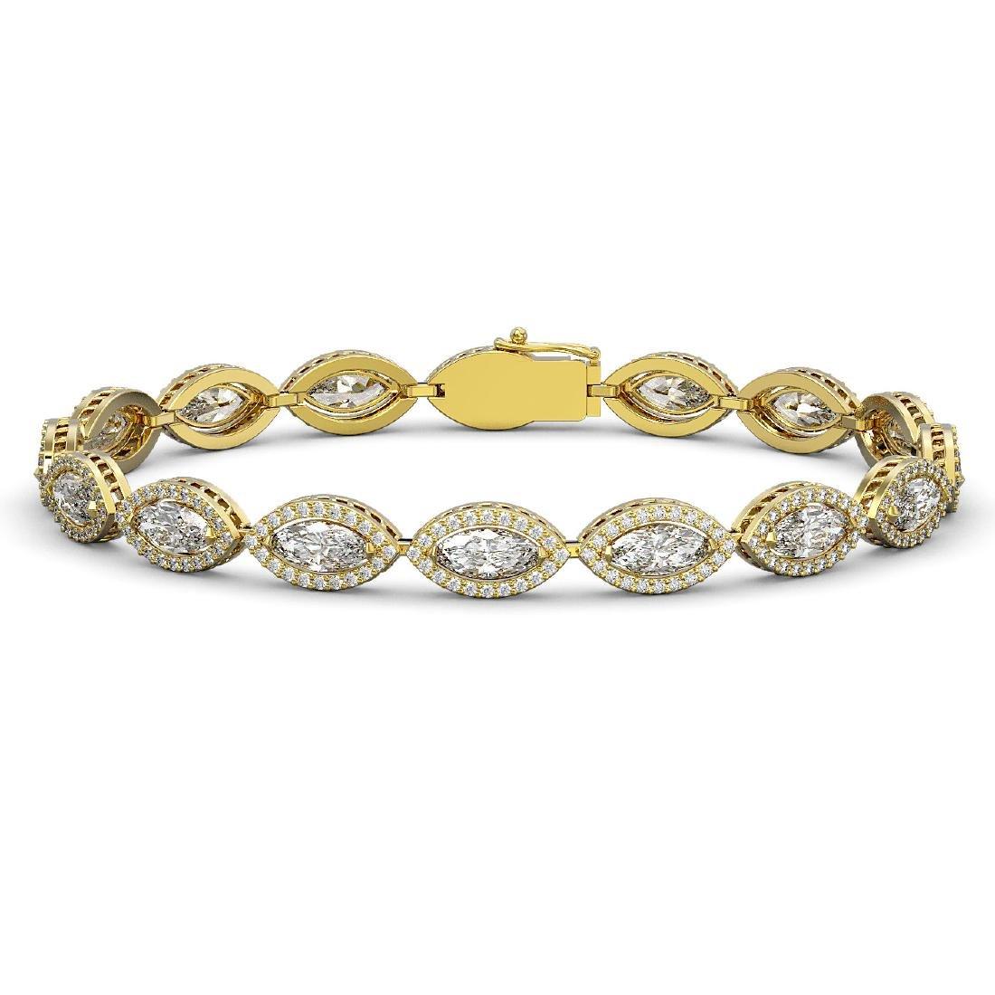 12.16 CTW Marquise Diamond Designer Bracelet 18K Yellow
