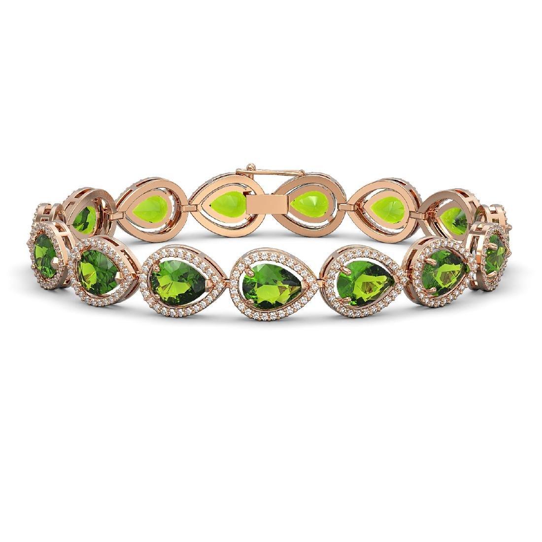 15.8 CTW Peridot & Diamond Halo Bracelet 10K Rose Gold