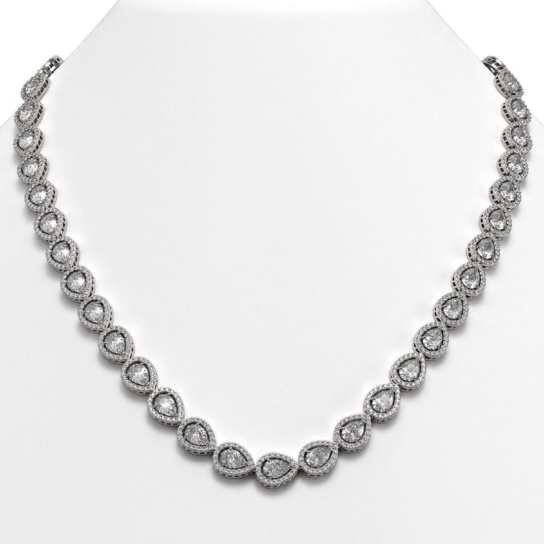 33.08 CTW Pear Diamond Designer Necklace 18K White Gold