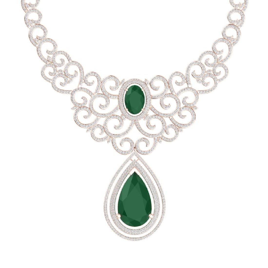 87.52 CTW Royalty Emerald & VS Diamond Necklace 18K - 2