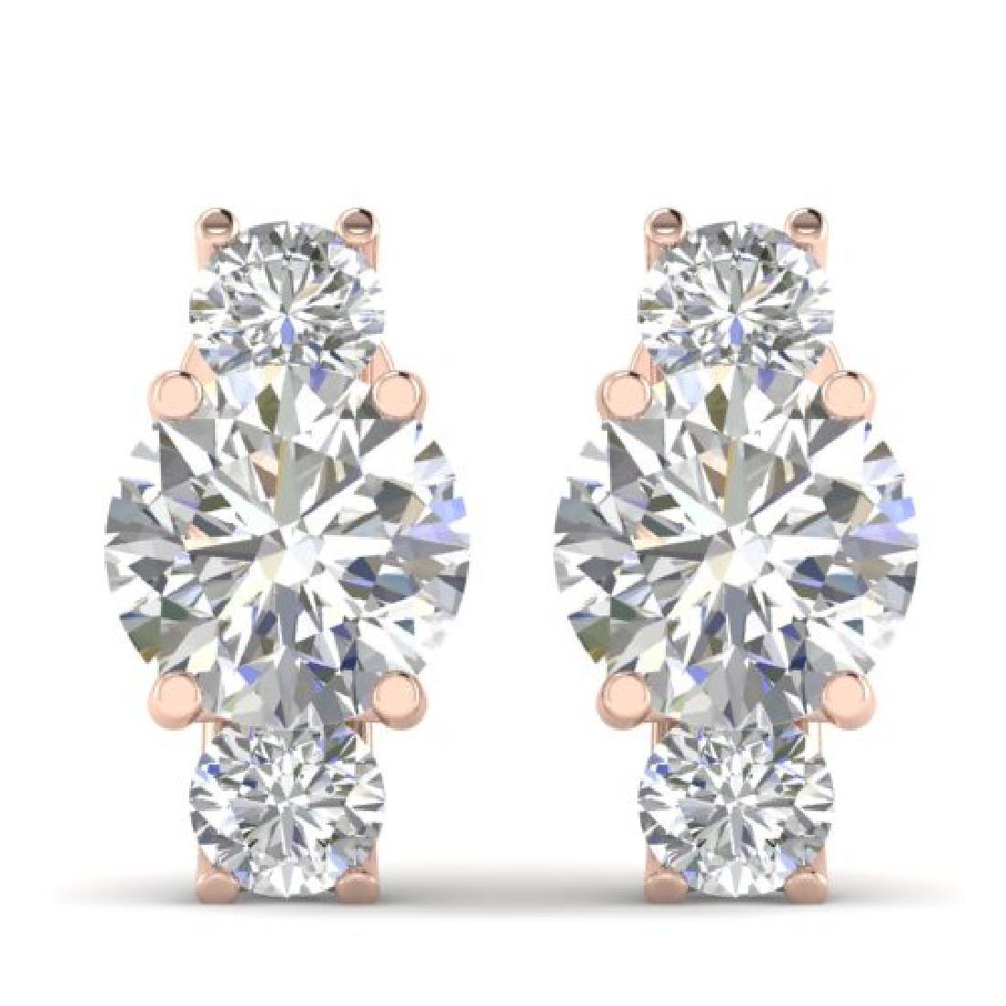 2.9 CTW Certified VS/SI Diamond 3 Stone Stud Earrings