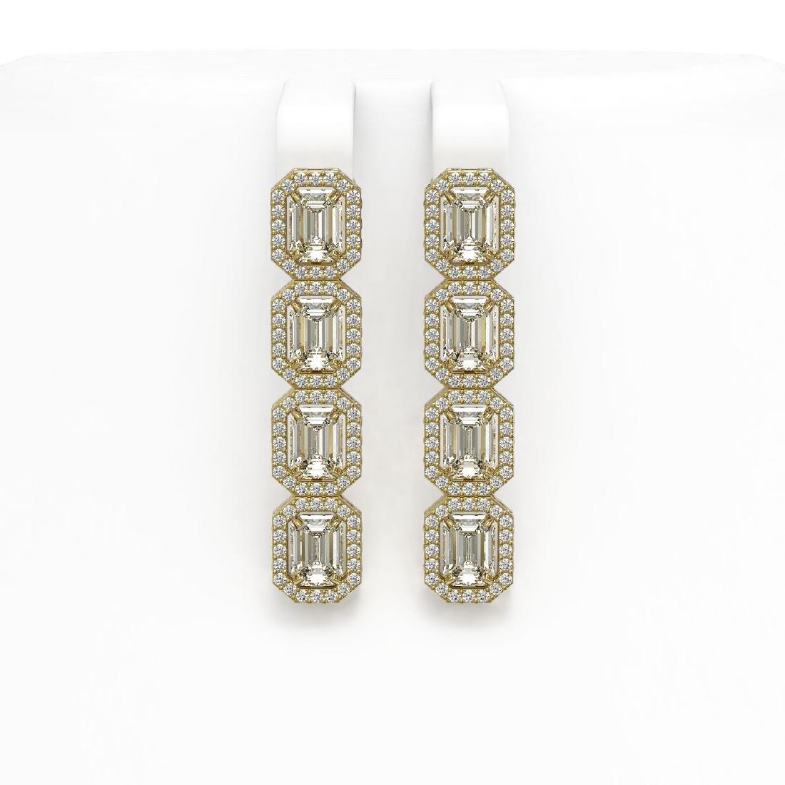 6.08 CTW Emerald Cut Diamond Designer Earrings 18K