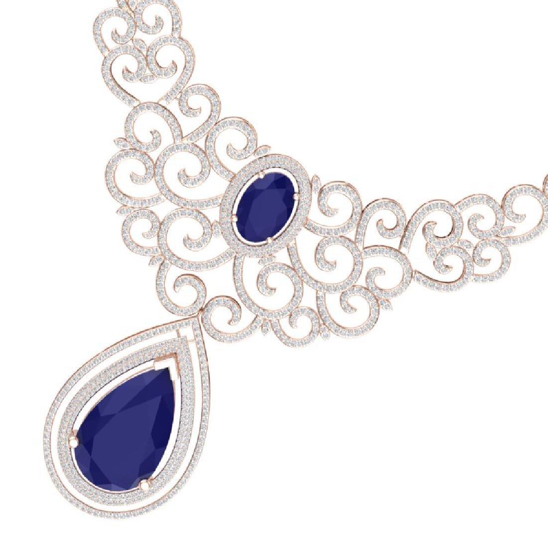 87.52 CTW Royalty Sapphire & VS Diamond Necklace 18K