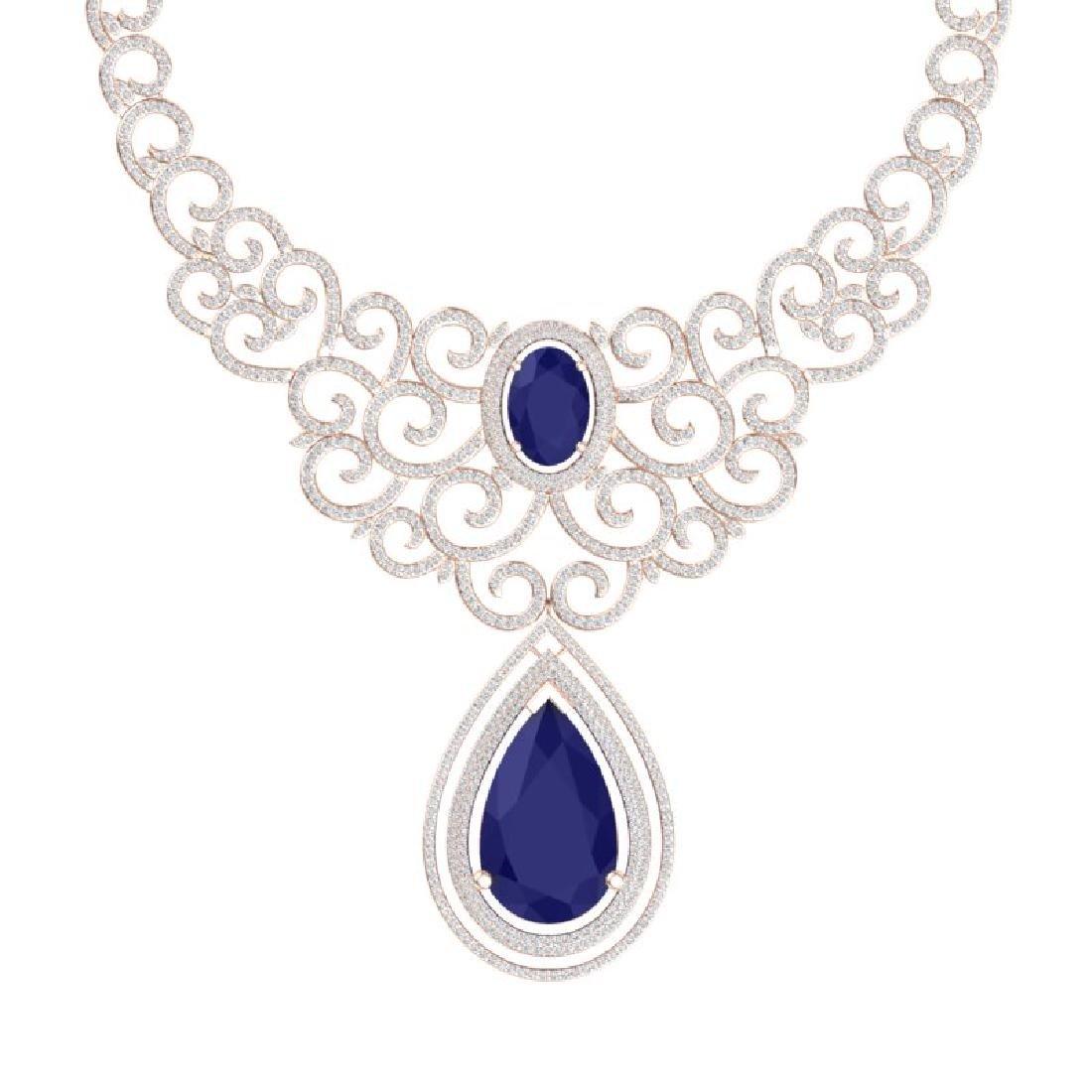 87.52 CTW Royalty Sapphire & VS Diamond Necklace 18K - 2
