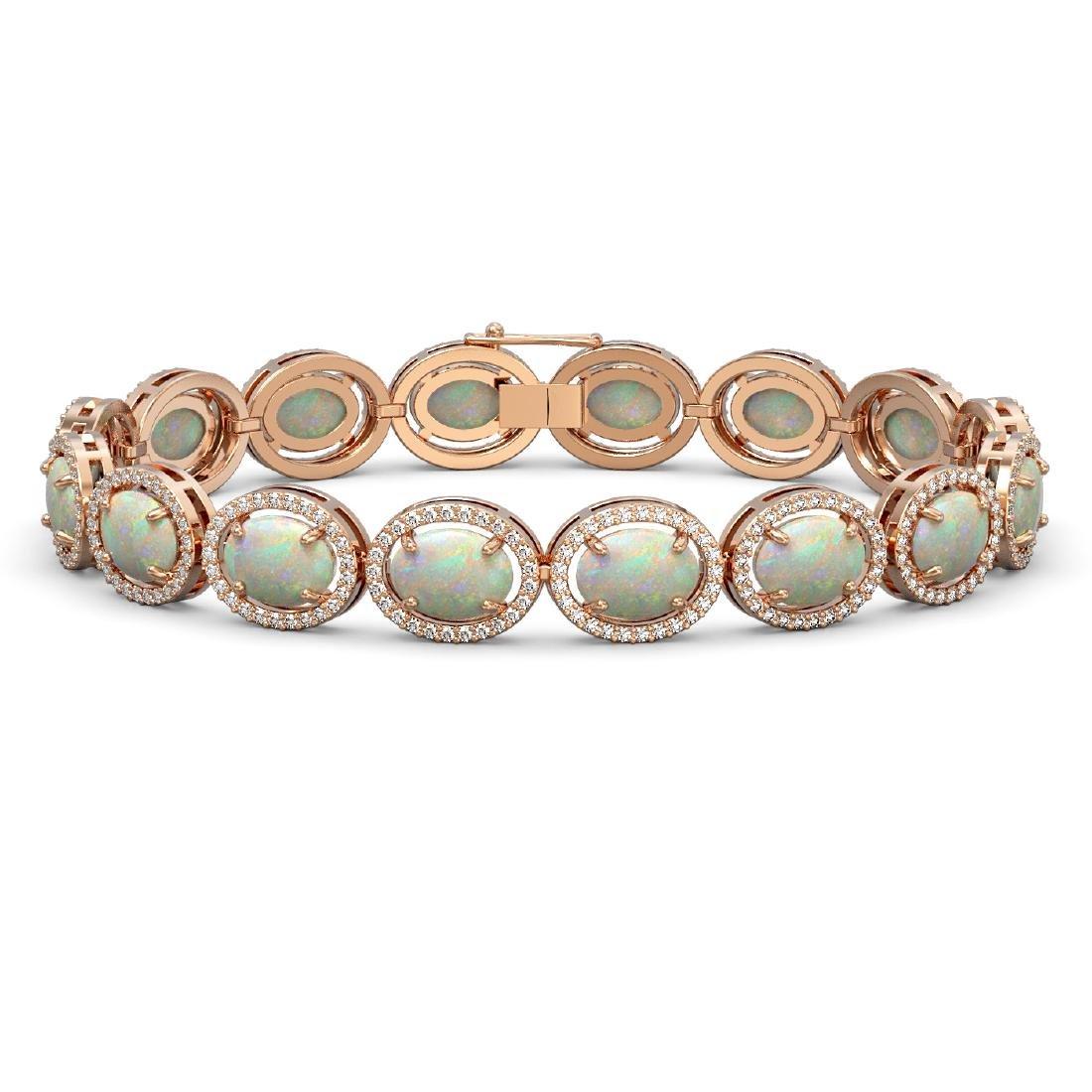 18.33 CTW Opal & Diamond Halo Bracelet 10K Rose Gold