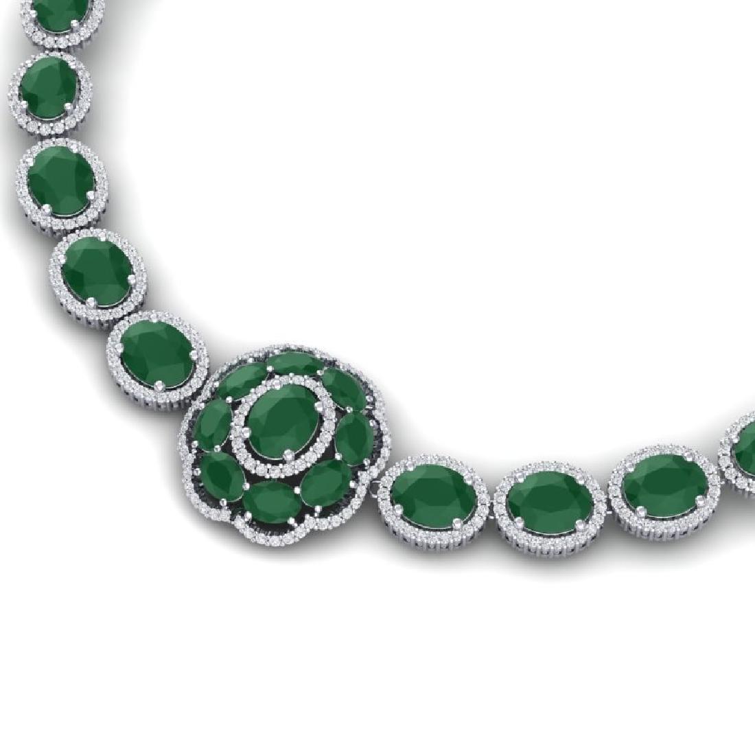 58.33 CTW Royalty Emerald & VS Diamond Necklace 18K