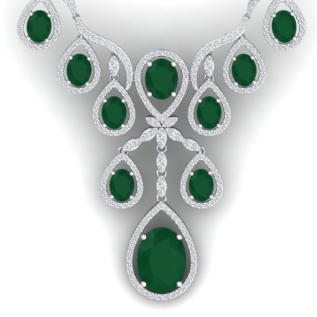 37.66 CTW Royalty Emerald & VS Diamond Necklace 18K