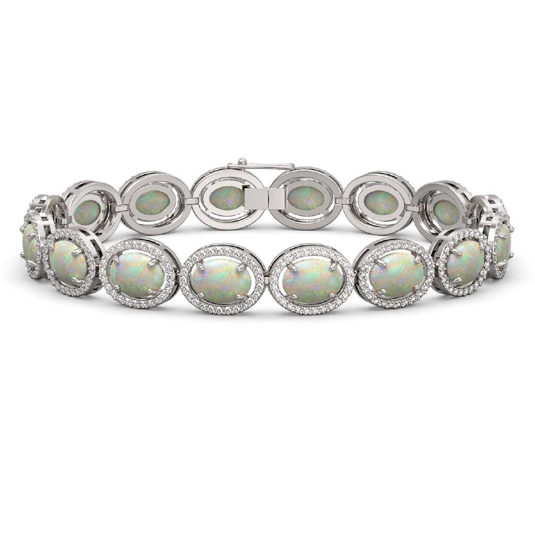 18.33 CTW Opal & Diamond Halo Bracelet 10K White Gold